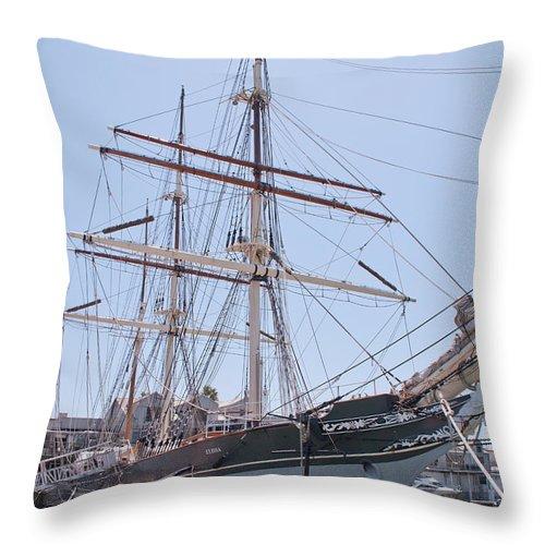 Galveston Throw Pillow featuring the photograph Tall Ship Elissa - Galveston Texas by John Black