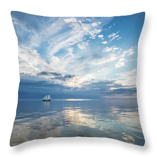 Tranquility Throw Pillow featuring the photograph Tall Ship On The Big Lake by Rudy Malmquist