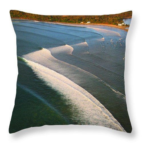 Mauritius Throw Pillow featuring the photograph Tamarin Bay Surf Going Off by Ron Holl