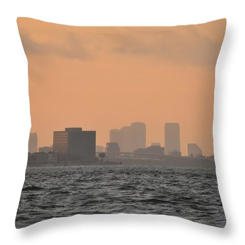 Tampa Throw Pillow featuring the photograph Tampa At Sunrise by Bill Cannon