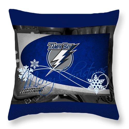Lightning Throw Pillow featuring the photograph Tampa Bay Lightning Christmas by Joe Hamilton