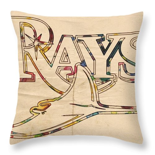 Tampa Bay Rays Throw Pillow featuring the painting Tampa Bay Rays Logo Art by Florian Rodarte