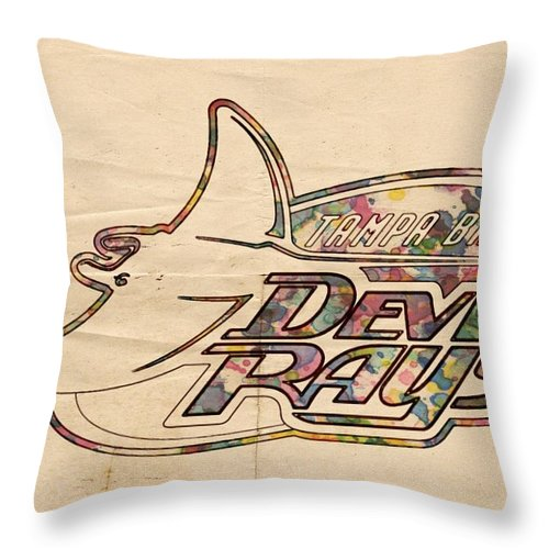 Tampa Bay Rays Throw Pillow featuring the painting Tampa Bay Rays Vintage Logo by Florian Rodarte