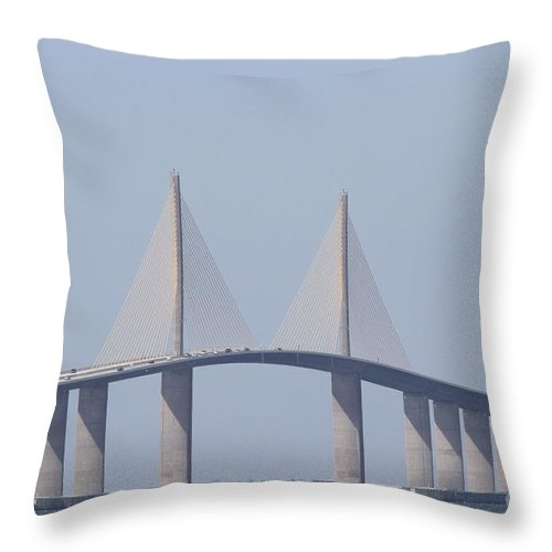 Bridge Throw Pillow featuring the photograph Tampa Sky Way Bridge by Christiane Schulze Art And Photography