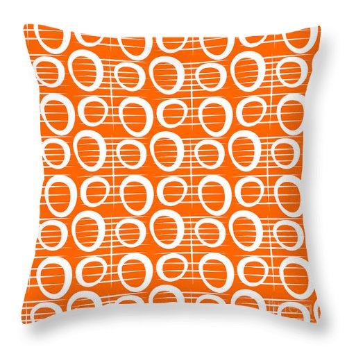 Abstract Throw Pillow featuring the painting Tangerine Loop by Linda Woods