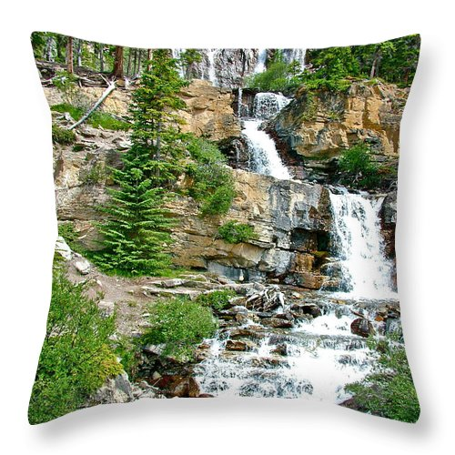 Tangle Falls Along Icefields Parkway In Alberta Throw Pillow featuring the photograph Tangle Falls Along Icefield Parkway In Alberta by Ruth Hager