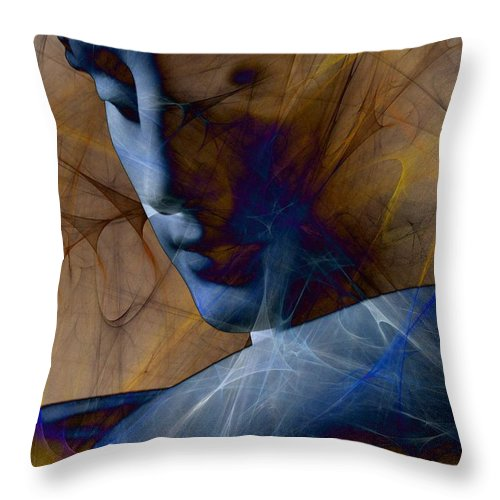 Stitched In Sketchy Blues Throw Pillow for Sale by Elizabeth McTaggart