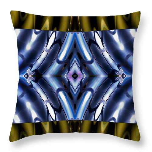 Abstract Throw Pillow featuring the digital art Tango In Blue And Gold by William Durfey