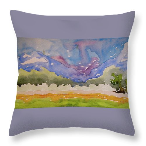 Landscape Throw Pillow featuring the painting Taos Fields by Beverley Harper Tinsley