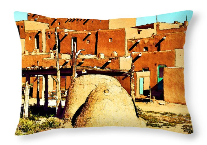 Taos Throw Pillow featuring the photograph Taos Pueblo II by Dan Dooley