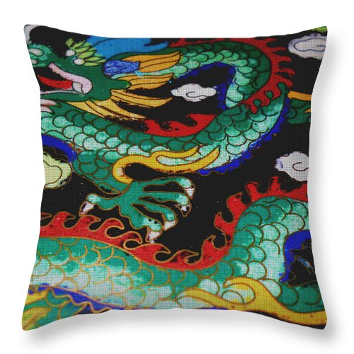 Dragon Throw Pillow featuring the photograph Tapestry Green Dragon by J Andrel