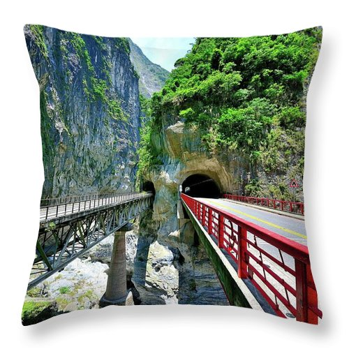 Built Structure Throw Pillow featuring the photograph Taroko Gorge by Photography By Anthony Ko