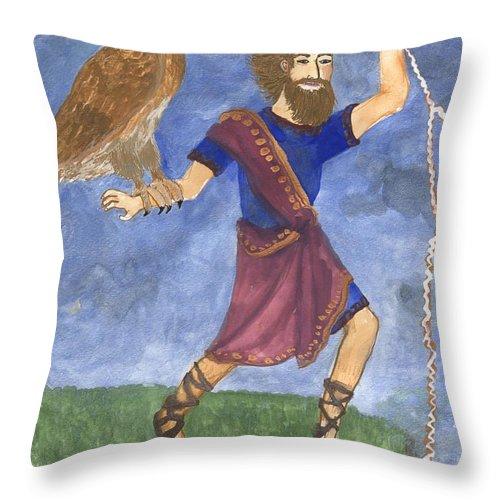 Tarot Throw Pillow featuring the painting Tarot 5 Jupiter by Sushila Burgess