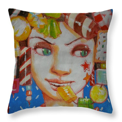 #love #candy #sweet #crush #bright #colorful #bold #vibrant #sweetness Throw Pillow featuring the painting Taste Of Sweetness by Ralph Nixon Jr