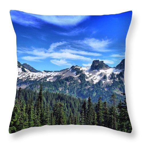 Tatoosh Mountain Range Throw Pillow featuring the photograph Tatoosh Range by Lynn Hopwood