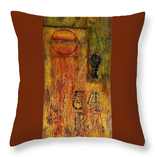 Mixed Media Throw Pillow featuring the painting Tattered Wall by Bellesouth Studio