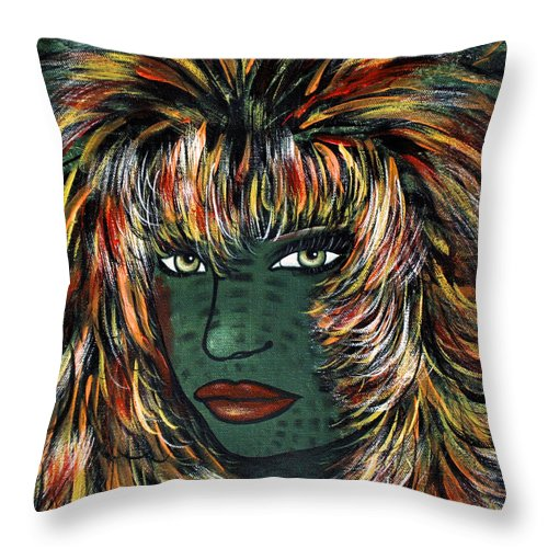 Woman Throw Pillow featuring the painting Tattoo by Natalie Holland
