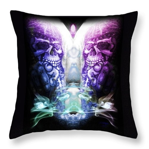 Skull Throw Pillow featuring the photograph Tattoo You by Majula Warmoth