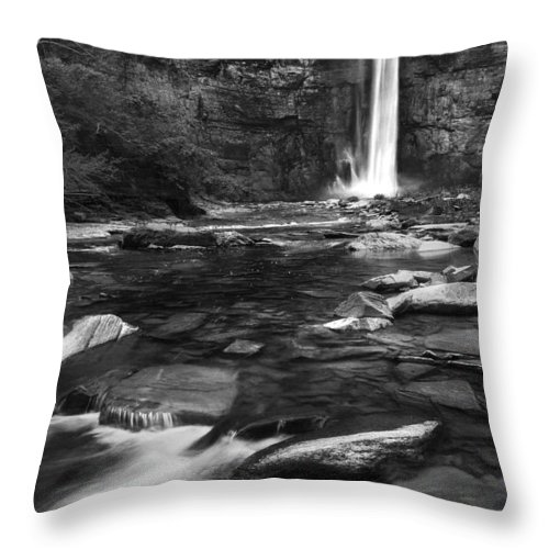 Taughannock Falls Throw Pillow featuring the photograph Taughannock Black And White by Bill Wakeley