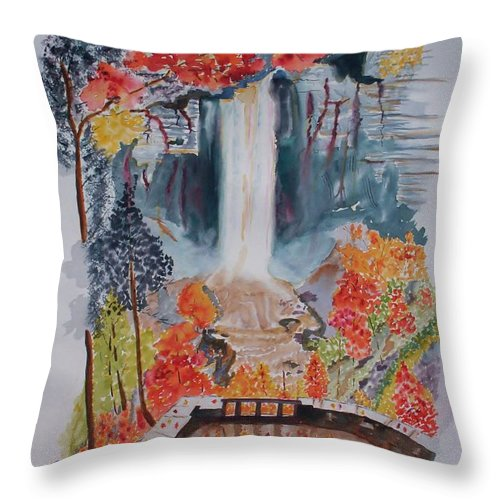 Taughannock Falls Throw Pillow featuring the painting Taughannock Falls Ny In Autumn by Warren Thompson