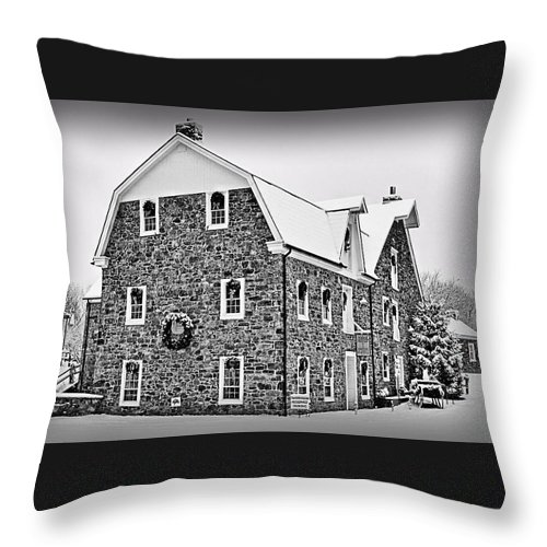 Saucon Valley Throw Pillow featuring the photograph Tavern Room Within by DJ Florek