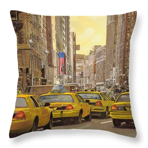 New York Throw Pillow featuring the painting yellow taxi in NYC by Guido Borelli