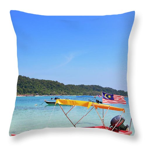 Tranquility Throw Pillow featuring the photograph Taxi Boat, Perhentian Islands by Laurie Noble