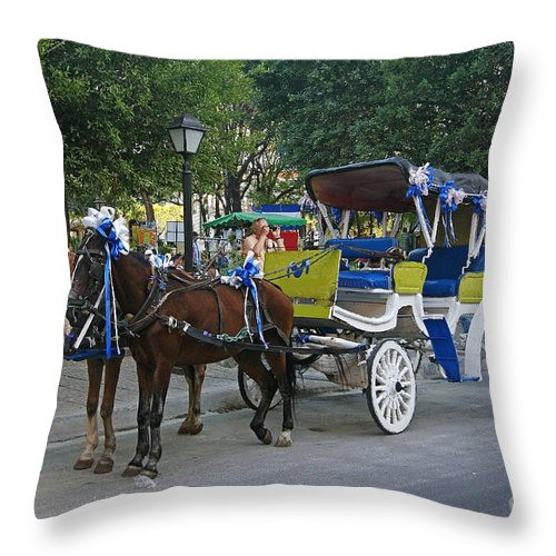 Central Throw Pillow featuring the photograph taxi of Granada Nicaragua by Rudi Prott