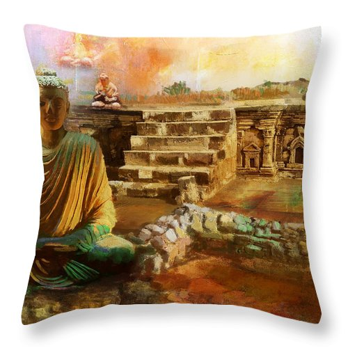 Pakistan Throw Pillow featuring the painting Taxilla Unesco World Heritage Site by Catf