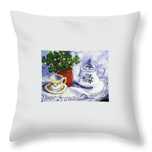 Tea Throw Pillow featuring the painting Tea For Nancy by Barbara McDevitt