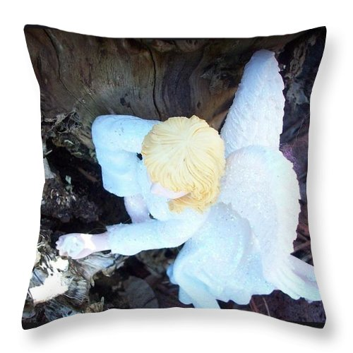 Fairy Throw Pillow featuring the photograph Relaxing At Home by Sharon Ackley