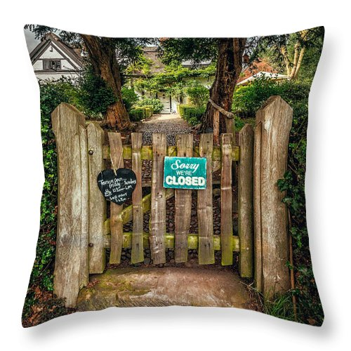 British Throw Pillow featuring the photograph Tea Room Gate by Adrian Evans