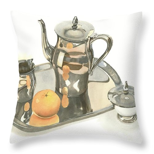 Tea Service With Orange Throw Pillow featuring the painting Tea Service With Orange by Kip DeVore