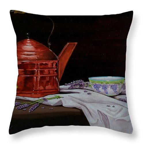 Tea Pot Throw Pillow featuring the painting Tea Time by Paul Tremlin