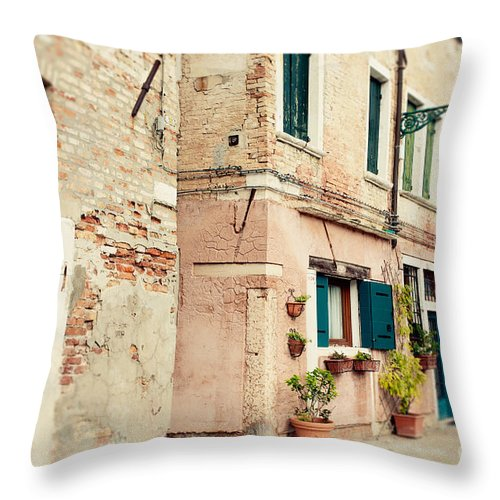 Venice Italy Throw Pillow featuring the photograph Teal Shutters by Erin Johnson