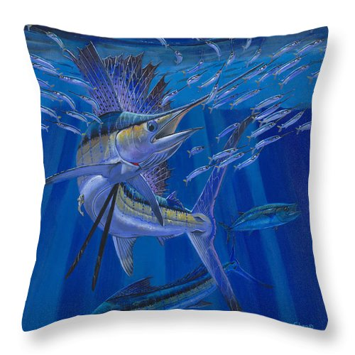 Sailfish Throw Pillow featuring the painting Team Work Off0036 by Carey Chen