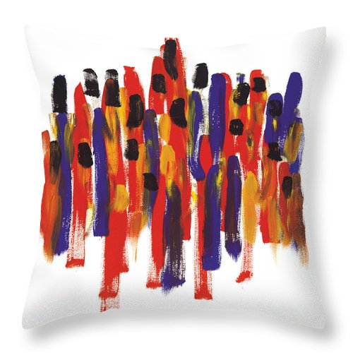Teamwork Throw Pillow featuring the painting Teamwork by Bjorn Sjogren