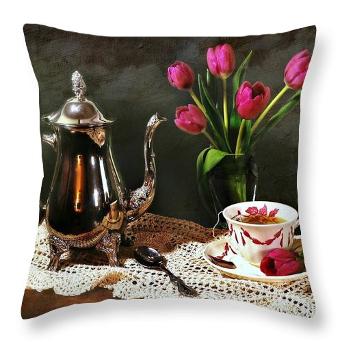 Still Life Throw Pillow featuring the photograph Tea'n Tulips by Diana Angstadt