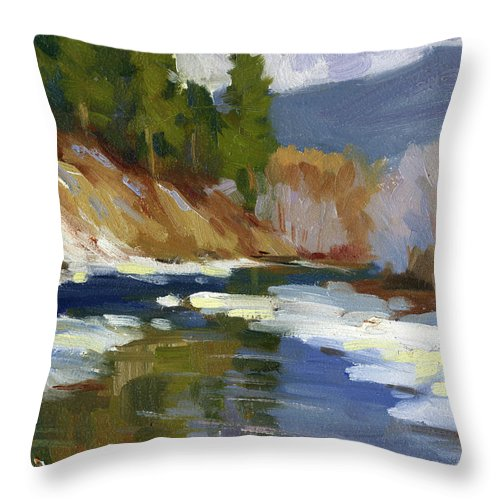 Teanaway River Throw Pillow featuring the painting Teanaway River by Diane McClary