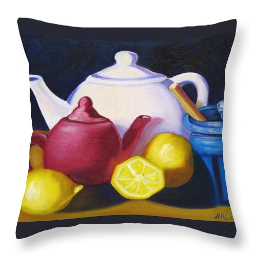 Teapot Throw Pillow featuring the photograph Teapots In Primary Colors by Natalie Rotman Cote