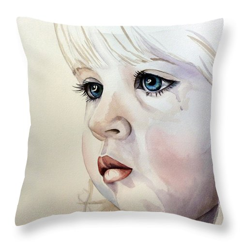 Child Throw Pillow featuring the painting Tear Stains by Michal Madison