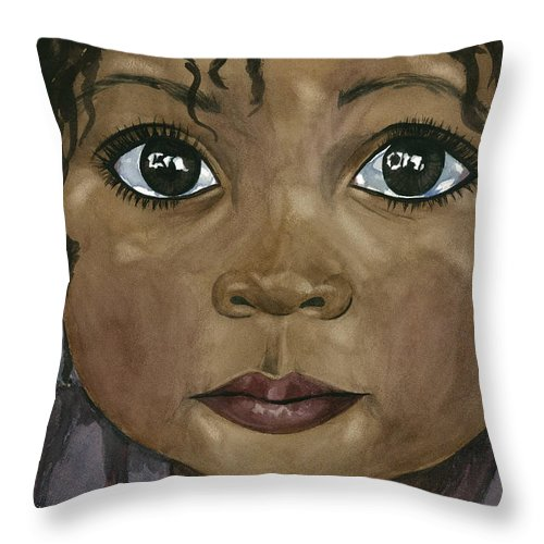 Huge Tear Filled Eyes Throw Pillow featuring the painting Ebony's Tears by Michal Madison