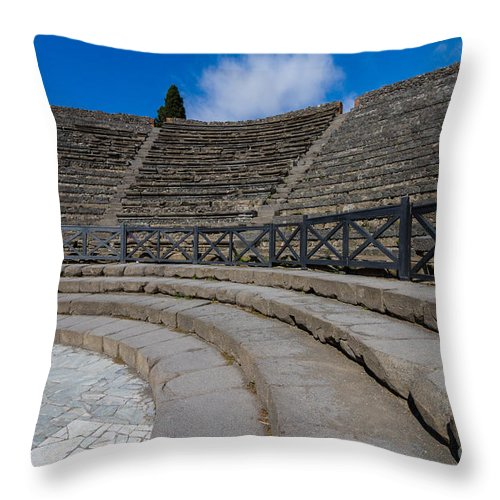 Abandoned Throw Pillow featuring the photograph Teatro Grande Or Grand Amphitheater Pompeii Italy by Dan Hartford