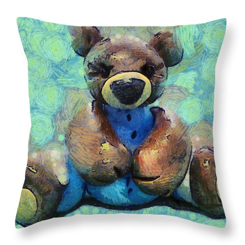 Barbara Snyder Throw Pillow featuring the digital art Teddy Bear In Blue by Barbara Snyder