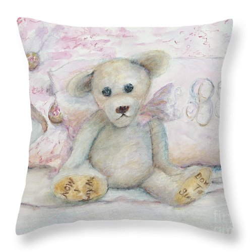 Teddy Bear Throw Pillow featuring the painting Teddy Friend by Nadine Rippelmeyer