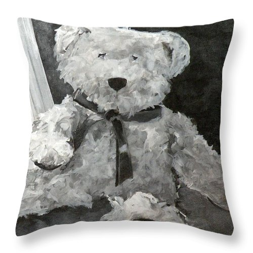 Teddy Bears Throw Pillow featuring the painting Teddy by Saundra Lane Galloway
