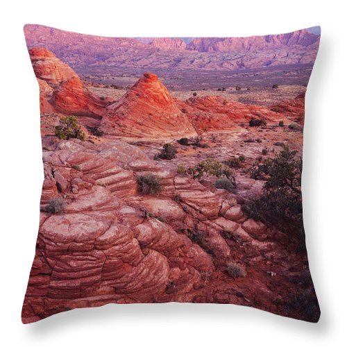 Nature Photography Throw Pillow featuring the photograph Tee Pee Rocks And Echo Peak by Tom Daniel