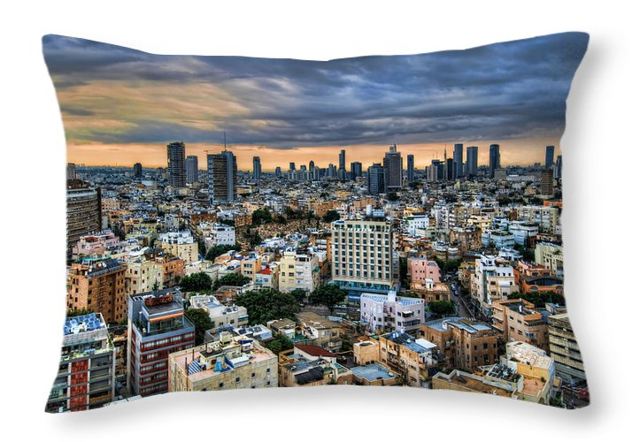 Ronsho Throw Pillow featuring the photograph Tel Aviv Skyline Winter Time by Ron Shoshani