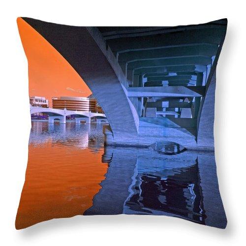 Bridge Throw Pillow featuring the photograph Tempe Town Lake Bridges by Tam Ryan