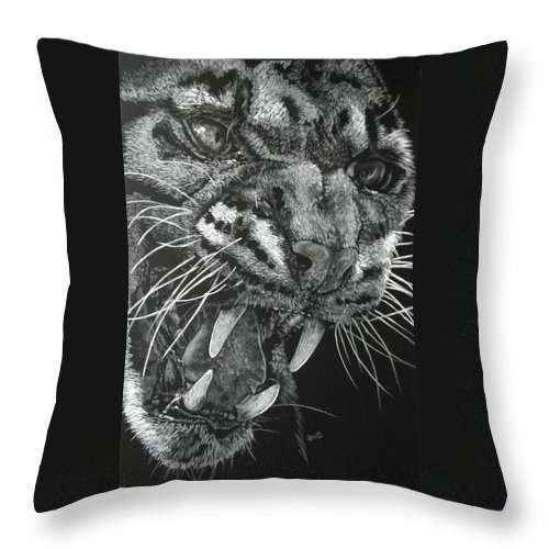 Clouded Leopard Throw Pillow featuring the mixed media Temper by Barbara Keith
